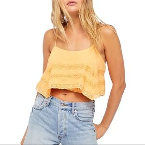 Free People Home Again Lace Crepe Cami Creamsicle